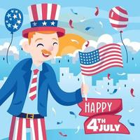 Boy Celebrating the 4th of July vector