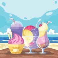 Summer Ice Cream on the Beach Background vector