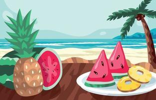 Fondo de plato de frutas de verano con sandía y piña. vector