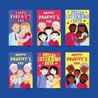 día de los padres tarjetas de felicitación vector