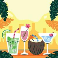 Summer Tropical Cocktails Background vector