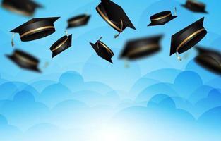 celebración de graduación con gorro de graduación en el aire vector