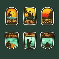 Summer Fishing Sticker Collection vector