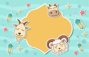 Eid Adha Fun Animal Concept vector