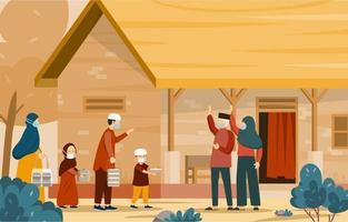 Food Sharing in Idul Adha Concept vector