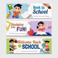 Set of Back to School Banners vector
