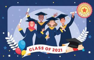 Group of Graduates in a Photo Frame vector