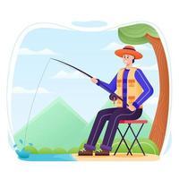 Happy Holiday Men Fishing Summer Activity vector