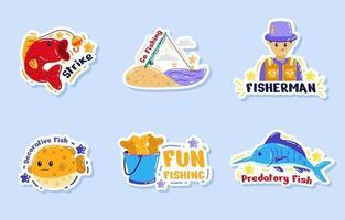 Happy Summer Fishing Sticker Set vector
