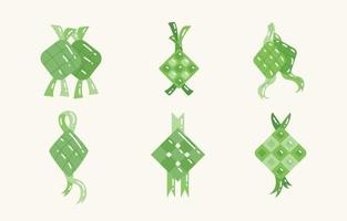 Ketupat Ramadan Hari Raya Aidil Fitri Icon Set vector
