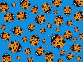 Orange Cartoon Ladybug Garden vector
