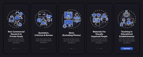 Copyright exclusion onboarding mobile app page screen with concepts vector