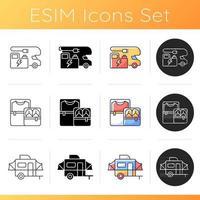 Nomadic lifestyle icons set vector