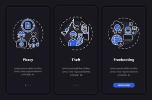 Copyright violation types onboarding mobile app page screen with concepts vector