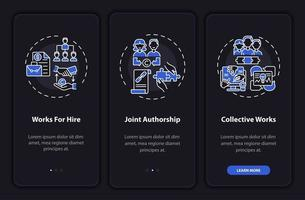 Copyright law particular rules onboarding mobile app page screen with concepts vector
