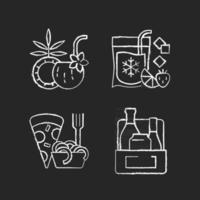 Pickup and delivery option chalk white icons set on black background vector
