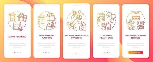 Adquisición de riqueza en la pantalla de la página de la aplicación móvil con conceptos vector