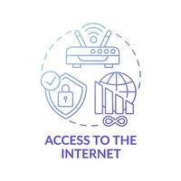 Access to internet dark gradient blue concept icon vector