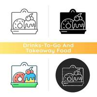 Cakes and desserts takeout icon vector