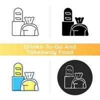 Fresh bread takeout icon vector