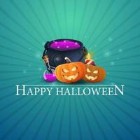 Happy Halloween greeting blue card with witchs pot and pumpkin Jack vector