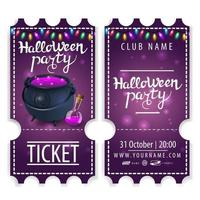 Ticket for Halloween party beautiful design with witchs pot with potion vector