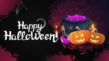 Happy Halloween horizontal greeting banner with witchs pot and pumpkin Jack vector