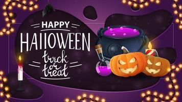 Banner de saludo horizontal de feliz halloween con maceta de brujas y calabaza jack vector