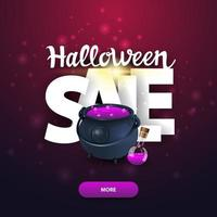 Halloween sale square web banner with big letters witchs pot with potion vector