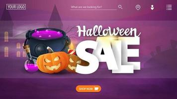 Halloween sale template the main page of the web site with the discount banner witchs pot and pumpkin Jack vector