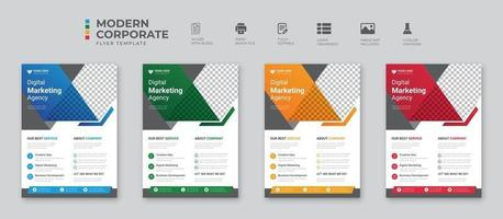 Simple Business flyer layout template Brochure modern cover design annual report poster in A4 size with geometric and wavy lines for business market on white background vector illustration