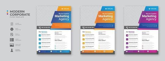 Corporate business digital marketing agency flyer design template vector
