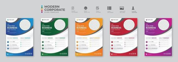 Corporate business flyer template design set with blue magenta red and yellow color marketing business proposal promotion advertise publication cover page vector