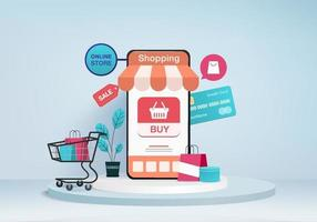 shopping online store for sale mobile ecommerce 3d blue background shop online on mobile app 24 hours shopping cart credit card minimal store online device 3d vector rendered