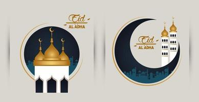 eid al adha celebration card with moon and mosque cupule vector