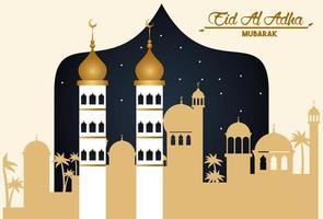 eid al adha celebration card with arab cityscape vector