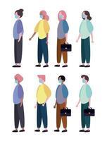 grupo de personas con personajes de máscara médica vector