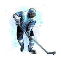 Jugador de hockey abstracto de salpicaduras de acuarelas boceto dibujado a mano deporte de invierno ilustración vectorial de pinturas vector