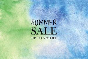 Summer sale watercolor pastel background hand painted aquarelle colorful stains on paper vector