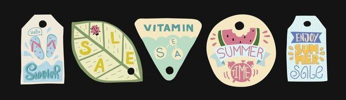 Summer sale label Doodle illustration set vector