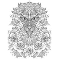 Lion hand drawn for adult coloring book vector