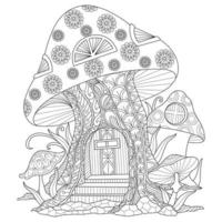 Mushroom house hand drawn for adult coloring book vector