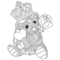Teddy bear hand drawn for adult coloring book vector