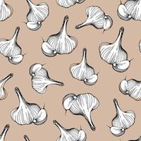 seamless pattern of garlic on a beige background. Vector illustration