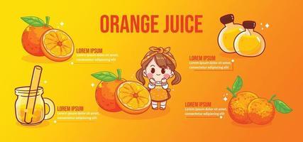 Happy cute girl and orange juice cartoon art illustration vector
