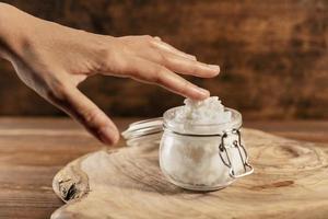 Shea butter beauty treatment assortment background photo