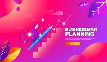Man is climbing career ladder with pencil for planning. Concept of business development. Vector illustration flat design. Step by step.