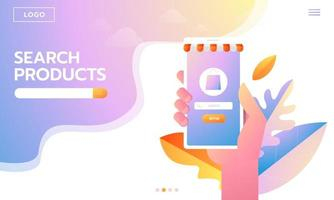 E-commerce buyer. Internet items. Banner with hand holding phone vector