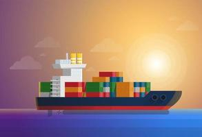 Cargo container ship transports containers in ocean. Flat and solid color style vector illustration
