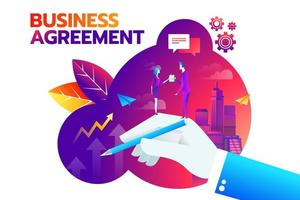 businessman and businesswoman shaking hand and agree to sign contract after successful business discussion. Business agreement concept vector